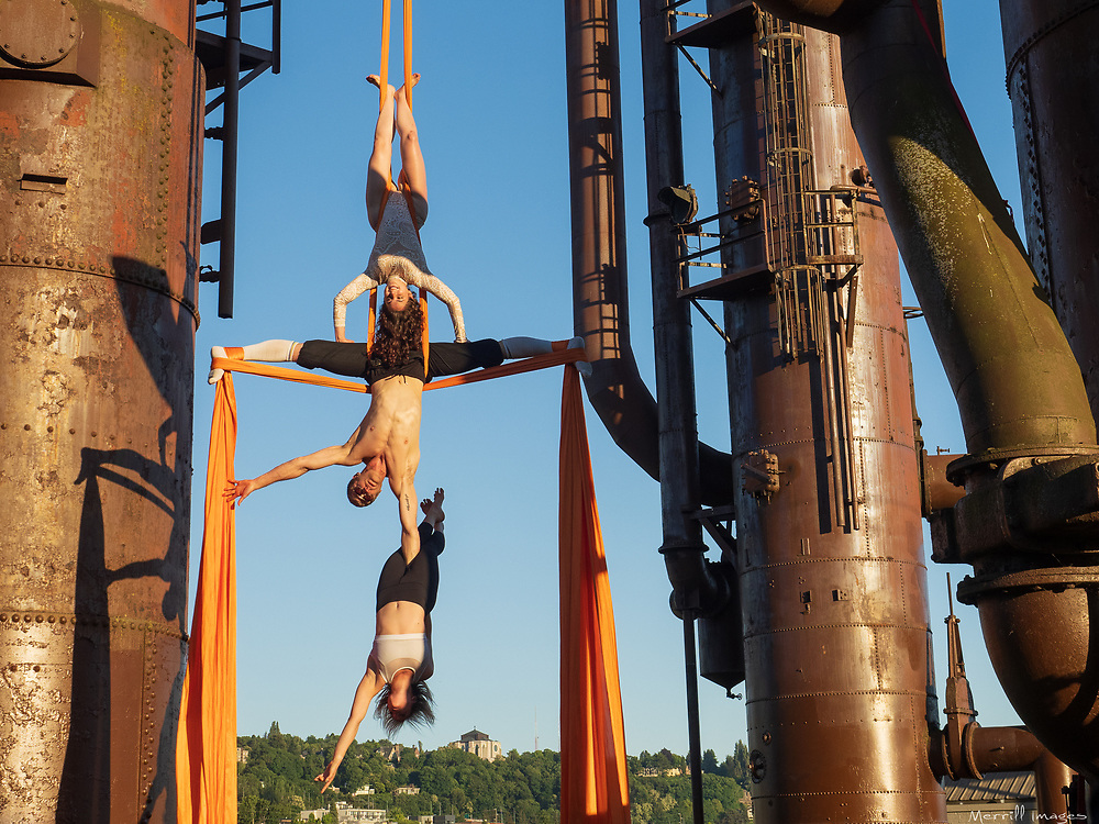 Aerialists in Gas Works Park, Seattle, WA
