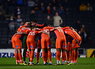 Northampton Town players huddle together before k/o .EFL Skybet football league one match, MK Dons v Northampton Town at the Stadium MK in Milton Keynes on Tuesday 26th September 2017.<br /> pic by Bradley Collyer, Andrew Orchard sports photography.