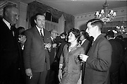 11/01/1963<br /> 01/11/1963<br /> 11 January 1963<br /> Leipzig Fair reception and film show at the Gresham Hotel, Dublin. At the reception were (l-r): F.E. Stringer, Hill and Co. Lucan, Co. Dublin; T.A. Dunlop, Hill and Co.; Mrs Goodman and T.R. Ticher.