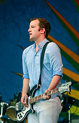 27 April 2014. New Orleans, Louisiana.<br /> Christopher Baio of Vampire Weekend at the New Orleans Jazz and Heritage Festival. <br /> Photo; Charlie Varley/varleypix.com