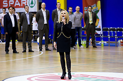 Nusa Derenda singing Slovenian Nathional anthem prior to the basketball match between KK Union Olimpija Ljubljana and KK Krka Novo mesto in Final match of 11th Slovenian Spar Cup 2012, on February 19, 2012 in Sports hall Brezice,  Brezice, Slovenia. Union Olimpija defeated Krka 68-63 and became Slovenian Cup Champion 2012. (Photo By Vid Ponikvar / Sportida.com)