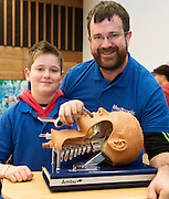 27/11/2016 REPRO FREE: Derek Wynne Medtronic and his Son Dara from  Turloughmore inNUI Galway as part of the Galway Science & Technology Festival.<br /> Photo: Andrew Downes, Xposure.