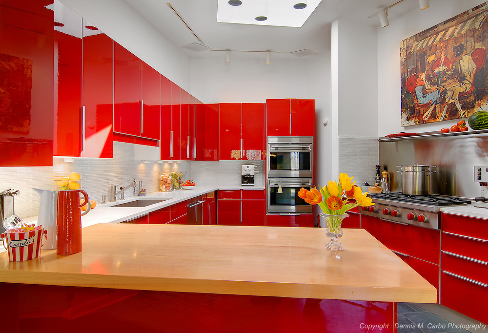 Guilford Red Lacquer Kitchen