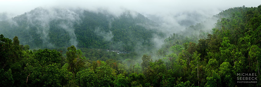 A panoramic photograph of mist rising over steep forested hillsides adjacent to the North Johnstone River, after a heavy shower in the wet season.<br /> <br /> Code: HAQT0036