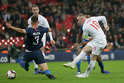 BRITAIN-LONDON-FOOTBALL-INTERNATIONAL FRIENDLY-ENGLAND VS USA.(181115) -- LONDON, Nov. 15, 2018  England's Wayne Rooney (R) attempts a shot and fails to score, as USA's Matthew Miazga attempts a block during the International Friendly football match between England and USA at Wembley Stadium in London, Britain on Nov. 15, 2018.  England won 3-0. (Credit Image: © Tim Ireland/Xinhua via ZUMA Wire)