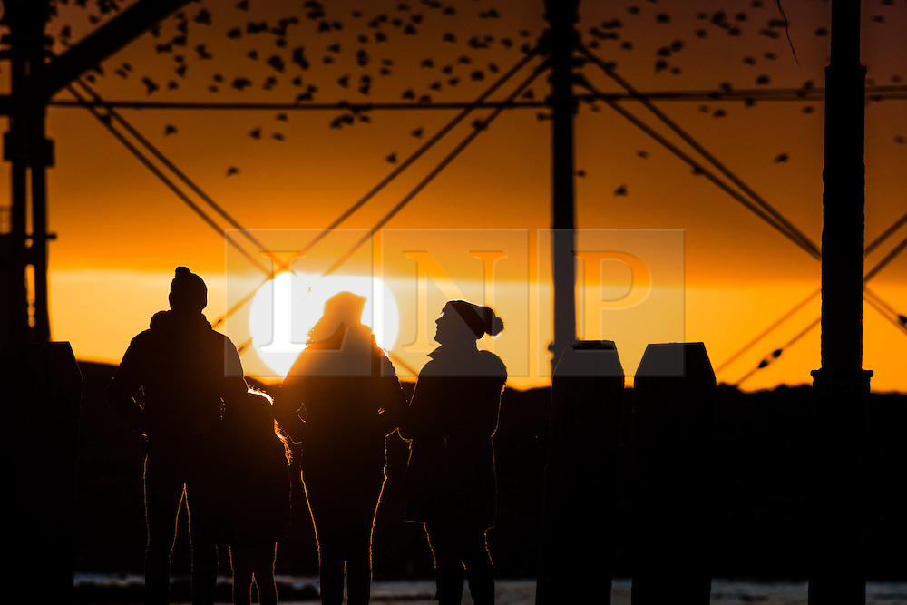 © Licensed to London News Pictures. 2/1/2017. Aberystwyth, Wales, UK. After an extremely cold , clear and frosty day, people watch as thousands of tiny starlings return from the feeding grounds to fly in as the sun sets to roost for the night underneath Aberystwyth's victorian seaside pier on the  west Wales coast of Cardigan Bay .  Photo credit: Keith Morris/LNP