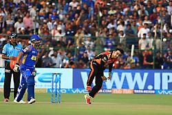 April 29, 2018 - Jaipur, Rajasthan, India - Sunrisers  Hyderabad bowler Rashid Khan bowls  plays a shot during the IPL T20 match against Rajasthan Royals at Sawai Mansingh Stadium in Jaipur on 29th April,2018. (Credit Image: © Vishal Bhatnagar/NurPhoto via ZUMA Press)