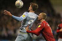 Leeds United's Patrick Bamford in action with Nottingham Forest's Joe Worrall<br /> <br /> Photographer Mick Walker/CameraSport<br /> <br /> The EFL Sky Bet Championship - Nottingham Forest v Leeds United - Saturday 8th February 2020 - The City Ground - Nottingham <br /> <br /> World Copyright © 2020 CameraSport. All rights reserved. 43 Linden Ave. Countesthorpe. Leicester. England. LE8 5PG - Tel: +44 (0) 116 277 4147 - admin@camerasport.com - www.camerasport.com