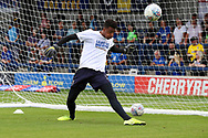 AFC Wimbledon goalkeeper Nathan Trott (1) warming up during the EFL Sky Bet League 1 match between AFC Wimbledon and Wycombe Wanderers at the Cherry Red Records Stadium, Kingston, England on 31 August 2019.