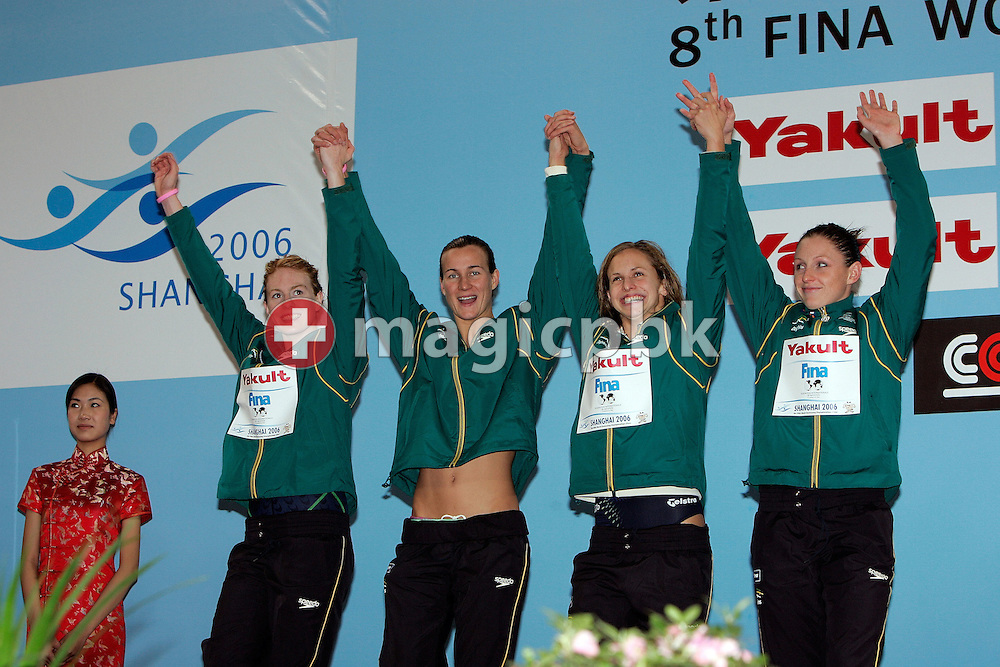 (L-R) Danni MIATKE, Sophie EDINGTON, Lisbeth LENTON and Shayne REESE of Australia celebrate on the podium during the award ceremony of the women's 4x100m Freestyle Relay Final during day four of the 8th FINA World Swimming Championships (25m) held at Qi Zhong Stadium April 8th, 2006 in Shanghai, China. The Australian relay team wins the silver medal. (Photo by Patrick B. Kraemer / MAGICPBK)