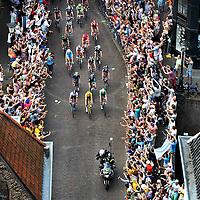 Nederland, Utrecht, 05-07-2015.<br /> Wielrennen, Tour de France, 1e etappe, van Utrecht naar Neeltje Jans.<br /> Sfeerbeeld vanaf de Dom kijkend op de Maartensbrug. <br /> Foto : Klaas Jan van der Weij