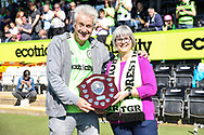 Sadie Mertens receives the prediction league trophy from Phil Butterworth during the Vanarama National League Play Off second leg match between Forest Green Rovers and Dagenham and Redbridge at the New Lawn, Forest Green, United Kingdom on 7 May 2017. Photo by Shane Healey.