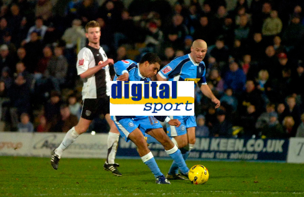 Photo: Alan Crowhurst.<br />Wycombe Wanderers v Grimsby Town. Coca Cola League 2. 18/11/2006. Wycombe's Scott Golbourne strikes to score and make 1-1.