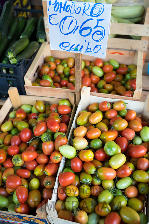 Pomodoro tomatoes on sale with euro price ticket at Ballero street market for vegetables and salads in Palermo, Sicily, Italy