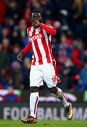 """Stoke City's Mame Biram Diouf during the Premier League match at the Bet35 Stadium, Stoke. PRESS ASSOCIATION Photo Picture date: Saturday December 2, 2017. See PA story SOCCER Stoke. Photo credit should read: Dave Thompson/PA Wire. RESTRICTIONS: EDITORIAL USE ONLY No use with unauthorised audio, video, data, fixture lists, club/league logos or """"live"""" services. Online in-match use limited to 75 images, no video emulation. No use in betting, games or single club/league/player publications"""