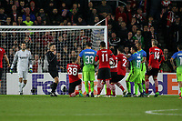 Football - 2016 / 2017 UEFA Europa League - Group K: Southampton vs Inter Milan<br /> <br /> Southampton's Sam McQueen on his knees after being struck in the face as the Inter players dispute the penalty decision at St Mary's Stadium Southampton England<br /> <br /> COLORSPORT/SHAUN BOGGUST