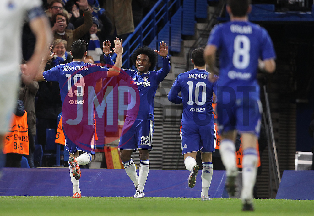 Willian ( 2nd L ) of Chelsea celebrates after scoring to a make it 2-0 - Mandatory byline: Paul Terry/JMP - 09/12/2015 - Football - Stamford Bridge - London, England - Chelsea v FC Porto - Champions League - Group G