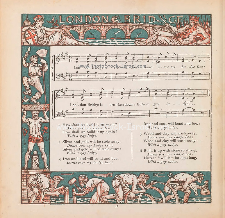 London Bridge Sheet Music From the Book ' The baby's bouquet : a fresh bunch of old rhymes & tunes ' by Crane, Walter, 1845-1915; Crane, Lucy, 1842-1882; Evans, Edmund, 1826-1905; Publisher  George Routledge and Sons (London and New York) 1878