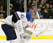 St. Louis Blues goalie Jaroslav Halak (41) watches the gameplay on the Dallas Stars side of the rink at the American Airlines Center in Dallas, Texas, on January 26, 2013.  (Stan Olszewski/The Dallas Morning News)