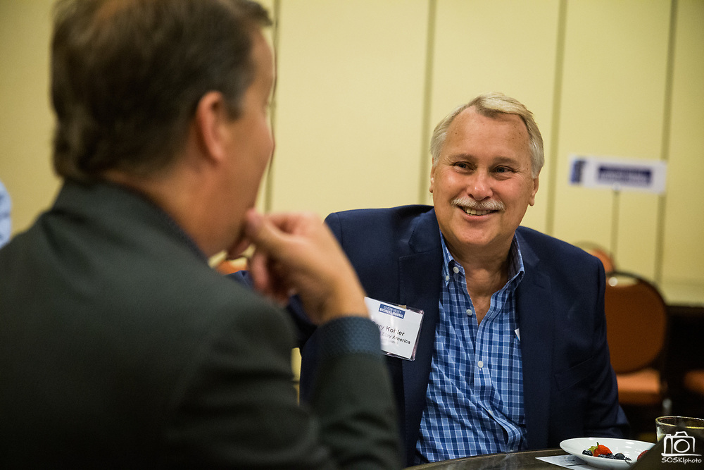 Gary Kohler of Extended Stay America talks with others during the Silicon Valley Business Journal's Future of Fremont event at Fremont Marriott Silicon Valley in Fremont, California, on June 18, 2019.  (Stan Olszewski for Silicon Valley Business Journal)