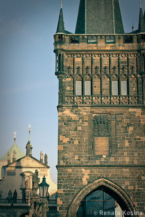 A gothic tower at the Charles Bridge in Prague, Czech Republic