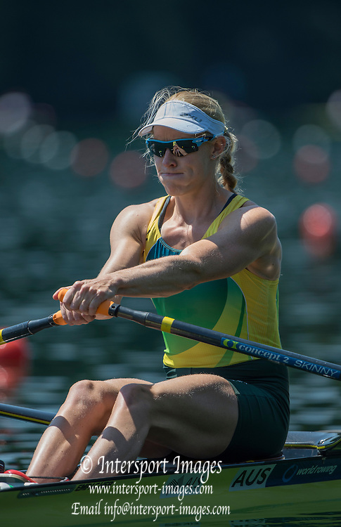 Lucerne, SWITZERLAND. start of a Heat of the Women's Single Sculls, AUS W1X, Kim CROW. at the 2015 FISA World Cup III, Lake Rotsee,    Friday  10/07/2015   [Mandatory Credit. Peter SPURRIER/Intersport Images]