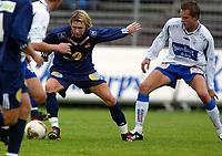 Fotball, 14. september 2003, 1. divisjon herrer, Strømsgodset-Haugesund 1-2,  Paal Christian Alsaker, Strømsgodset og Ronny Warholm, Haugesund