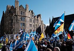 All Under One Banner Independence March, Edinburgh, Saturday 6th October 2018<br /> <br /> Pictured: Marchers gather at the start under Edinburgh Castle<br /> <br /> Alex Todd   Edinburgh Elite media