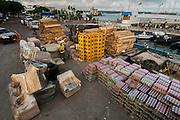 Unloading cargo on the dock<br /> Puerto Ayora, Santa Cruz Island, GALAPAGOS ISLANDS<br /> ECUADOR.  South America