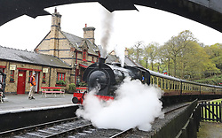 The Repulse steam train sets off on a pleasure trip from Haverthwaite Station to Windermere in Cumbria.