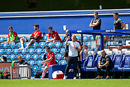 Barnsley Manager Gerhard Struber pointing, directing, signalling during the EFL Sky Bet Championship match between Queens Park Rangers and Barnsley at the Kiyan Prince Foundation Stadium, London, England on 20 June 2020.