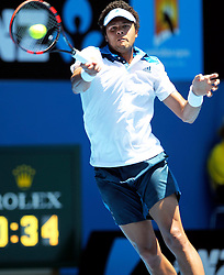 16.01.2014, Melbourne Park Tennis Cente, Melbourne, AUS, Australian Open 2014, Herren Einzel, Tag 4, im Bild Jo-Wilfried Tsonga of France returns the ball during the men's singles 2nd round match against Thomaz Bellucci of Brazil // on day four of the 2014 Australian Open tennis tournament at the Melbourne Park Tennis Center, Australia on 2014/01/16. EXPA Pictures © 2014, PhotoCredit: EXPA/ Photoshot/ Jin Linpeng<br /> <br /> *****ATTENTION - for AUT, SLO, CRO, SRB, BIH, MAZ only*****