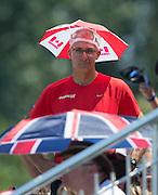 Plovdiv, BULGARIA. Canadian, Umbrella Hat,  2015 FISA U23 Championships. 26.07.2015. Sunday, Finals Day. [Mandatory Credit: Peter SPURRIER/Intersport Images]