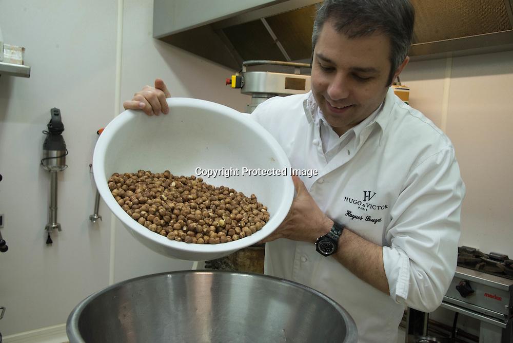 France. Paris . Chocolate Workshop of Hugo et Victor . Hugues Pouget is making Praline.