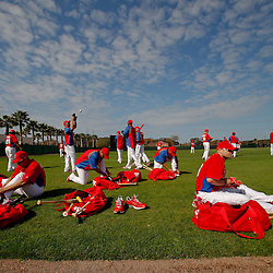 February 22, 2011; Clearwater, FL, USA; Philadelphia Phillies players prepare for practice during spring training at Bright House Networks Field. Mandatory Credit: Derick E. Hingle-US PRESSWIRE