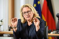 30 JUN 2021, BERLIN/GERMANY:<br /> Svenja Schulze, SPD, Bundesumweltministerin, waehrend einem Interview, in ihrem Büro, Bundesumweltministerium<br /> IMAGE: 20210630-01-014<br /> KEYWORDS: Büro