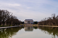 Washington, DC, USA -- February 3, 2020. A photo of the Lincoln Memorial overlooking the reflevcting pool.