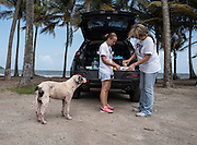 Chrissy Beckles and Yvette Fernandez prepare food for a stray dog found on Guayanes Beach, Puerto Rico.