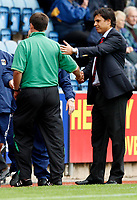 Photo: Richard Lane/Richard Lane Photography. Coventry City v Norwich City. Coca-Cola Championship. 09/08/2008. Coventry's manager, Chris Coleman shakes hands with Norwich manager, Glenn Roeder on the final whistle.