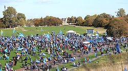 All Under One Banner Independence March, Edinburgh, Saturday 6th October 2018<br /> <br /> Pictured: People from all over Scotland attended the march which ended up in Holyrood Park, here the marchers start to arrive<br /> <br /> Alex Todd | Edinburgh Elite media