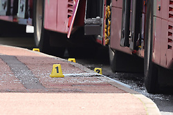 © Licensed to London News Pictures. 10/08/2021. London, UK. Evidence makers on the floor at the scene at Victoria Station in central London where one person has died in a collision involving two buses. Photo credit: Ben Cawthra/LNP
