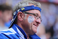 a Sheffield Wednesday fan looks on inside Wembley Stadium before k/o. Skybet football league Championship play off final match, Hull city v Sheffield Wednesday at Wembley Stadium in London on Saturday 28th May 2016.<br /> pic by John Patrick Fletcher, Andrew Orchard sports photography.