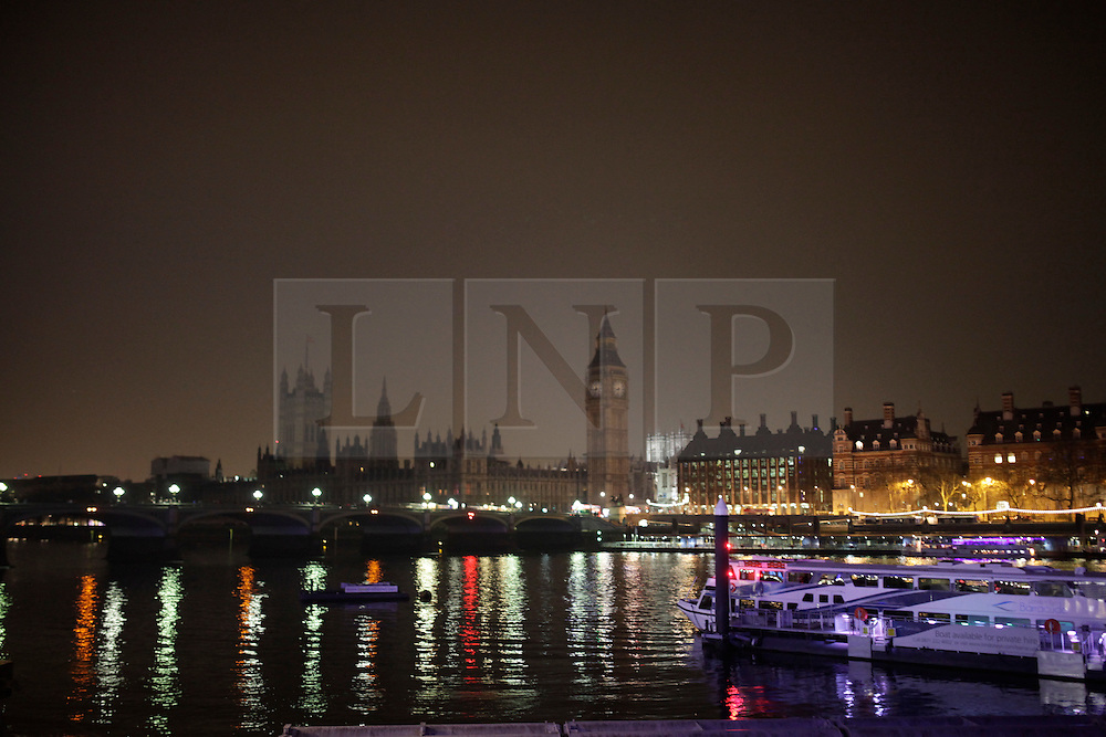 LNP HIGHLIGHTS OF THE WEEK 04/04/14  © Licensed to London News Pictures. 29/03/2014. London, UK. The Big Ben as seen during the WWF's Earth Hour. During the event several landmarks in London has been switched off for 60 minutes. Photo credit : Andrea Baldo/LNP
