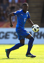 Italy U17's Paolo Gozzi Iweru during the UEFA European U17 Championship, Group A match at Banks's Stadium, Walsall. PRESS ASSOCIATION Photo. Picture date: Monday May 7, 2018. See PA story SOCCER England U17. Photo credit should read: Mike Egerton/PA Wire. RESTRICTIONS: Editorial use only. No commercial use.