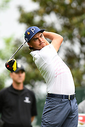 May 3, 2019 - Charlotte, NC, U.S. - CHARLOTTE, NC - MAY 03: Rickie Fowler plays his shot from the 16th tee in round two of the Wells Fargo Championship on May 03, 2019 at Quail Hollow Club in Charlotte,NC. (Photo by Dannie Walls/Icon Sportswire) (Credit Image: © Dannie Walls/Icon SMI via ZUMA Press)