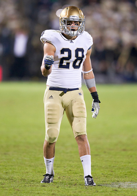 October 01, 2011:  Notre Dame safety Austin Collinsworth (#28) during NCAA Football game action between the Notre Dame Fighting Irish and the Purdue Boilermakers at Ross-Ade Stadium in West Lafayette, Indiana.  Notre Dame defeated Purdue 38-10.