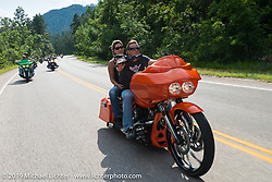 Jamie Denholm on the Legends Ride from Deadwood, SD through Spearfish Canyon and to the Sturgis Buffalo Chip during the Sturgis Black Hills Motorcycle Rally. SD, USA. August 4, 2014.  Photography ©2014 Michael Lichter.