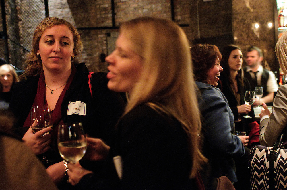 Jessica Natkin of the law firm of Anderson & Boback (L) joins Alexis Bettis of the law firm of Klevatt & Associates (center) during a Joint New Members, New Lawyers, and Mentor/Mentee Reception hosted by The Women's Bar Association of Illinois (WBAI) at Paris Club in Chicago's River North neighborhood on Monday, October 22nd. © 2012 Brian J. Morowczynski ViaPhotos