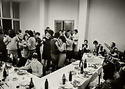 """Members of a local shoe cooperative celebrating """"Ladies Day"""" in a hotel near Shkodra."""