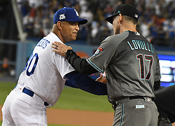 October 6, 2017 - Los Angeles, California, U.S. - Los Angeles Dodgers manager Dave Roberts (30) greets Arizona Diamondbacks manager Torey Lovullo (17) prior to a National League Divisional Series baseball game at Dodger Stadium on Friday, Oct. 06, 2017 in Los Angeles. (Photo by Keith Birmingham, Pasadena Star-News/SCNG) (Credit Image: © San Gabriel Valley Tribune via ZUMA Wire)